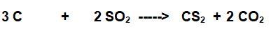 reazione bilanciata tra carbonio e diossido di zolfo