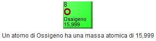 massa atomica dell'ossigeno